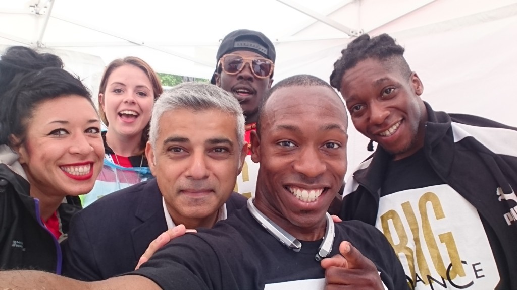 With Mayor Sadiq Khan at The Big Dance, Trafalgar Square